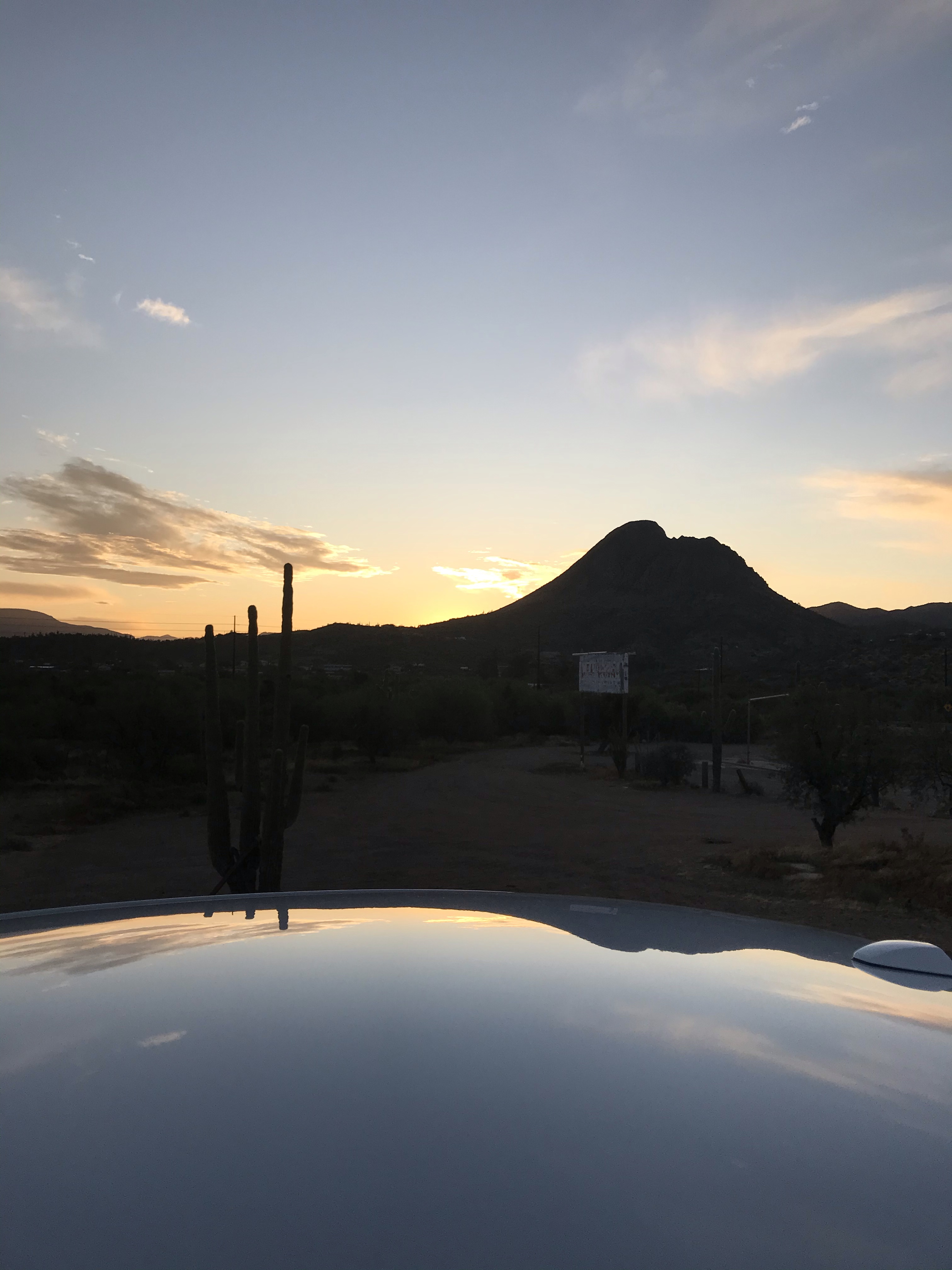 At a stop along the drive from Phoenix to Sedona at sunrise